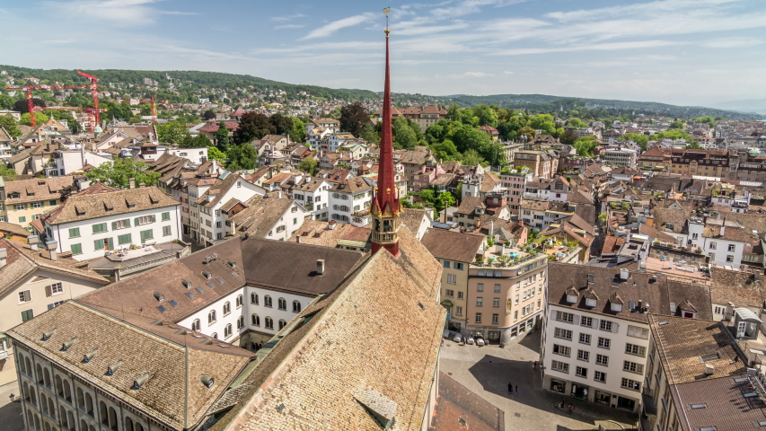 Panoramic view of Zurich from the top of Grossmunster church. Time lapse video.   Shutterstock HD Video #1054663817