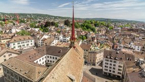 Panoramic view of Zurich from the top of Grossmunster church. Time lapse video.