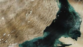 Persian Gulf from Space. Elements of this video furnished by NASA.