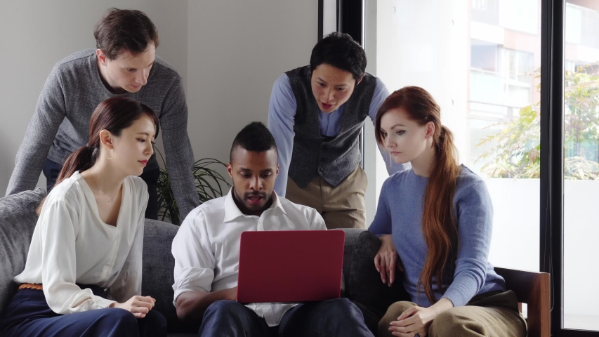 Depressed multinational people in the room. Global communication. | Shutterstock HD Video #1054668323