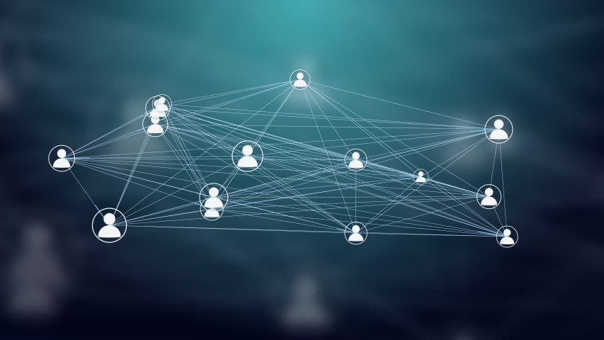 Users Connected in a Decentralized Network, P2P Technology. Concept for Cloud Computing, Storage, Smart Contracts, File Sharing.
