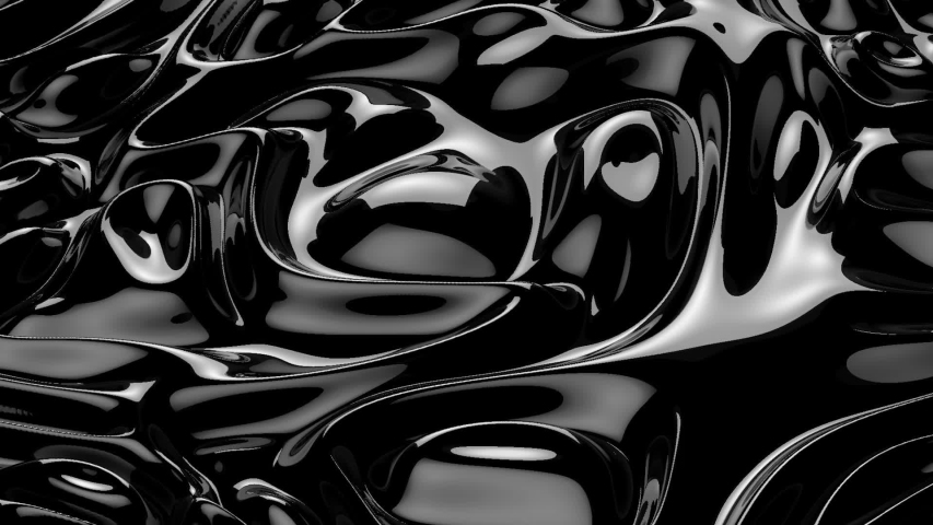Abstract black liquid. Black wave background. Plastic background. Black luxury texture. Oil, petroleum, rock-oil. Silk, 3d rendering Royalty-Free Stock Footage #1054669391