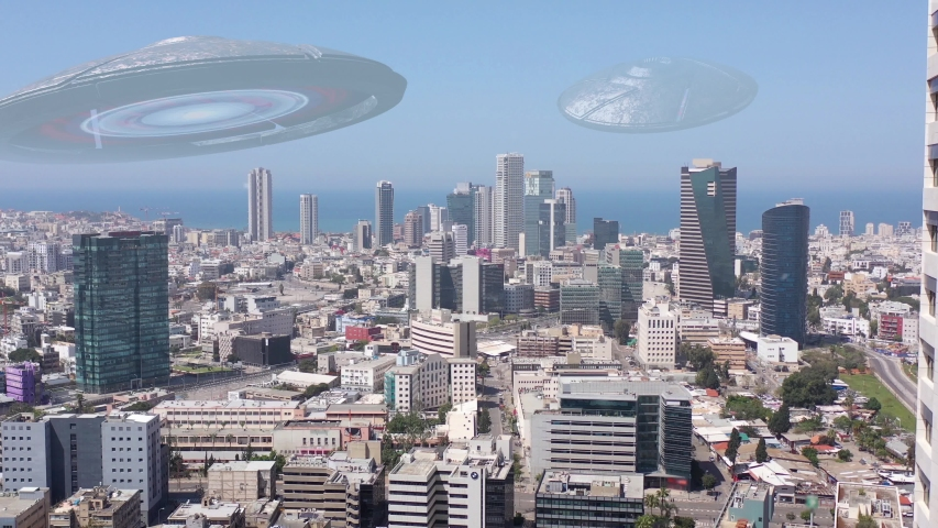Alien ufo Invasion Saucers over Large City, 3d Illustration Tel aviv, Israel, Drone view with visual effect Elements  | Shutterstock HD Video #1054671041