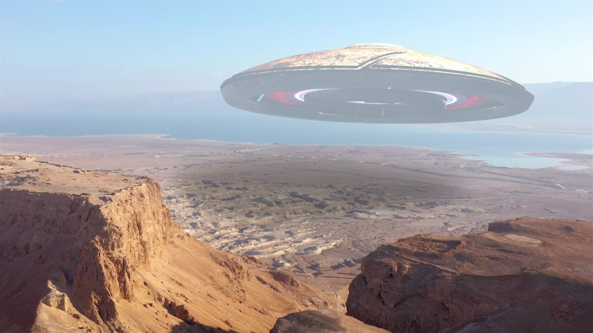 Alien Ufo Saucer Hovering over Desert Mountains And sea, Aerial  Masada, Dead sea, Israel desert, Drone view with visual effect Elements  | Shutterstock HD Video #1054671053