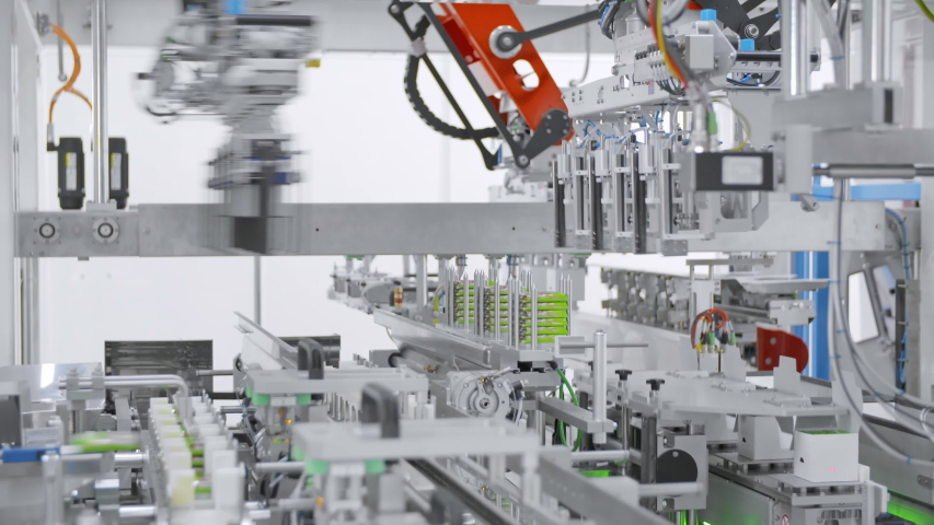 Automated machine. Robotic equipment. Pharmaceutical factory. Royalty-Free Stock Footage #1054676600