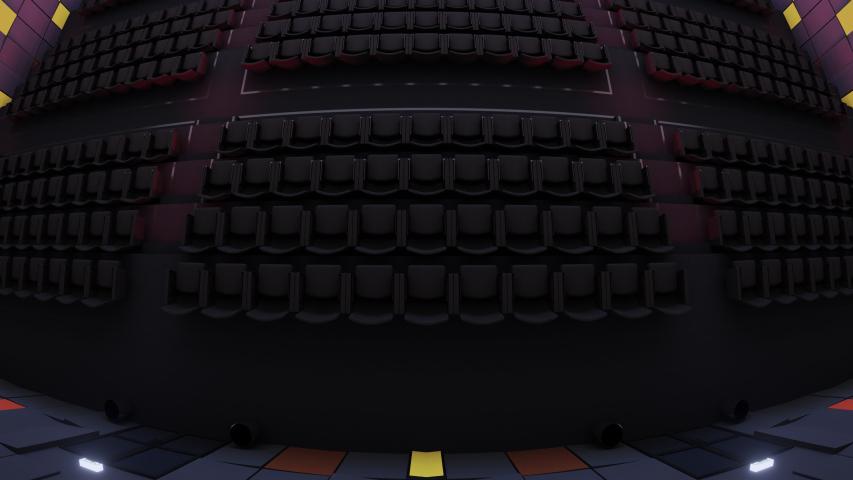 Flight over a movie theater entering a green screen. 3D render | Shutterstock HD Video #1054677671