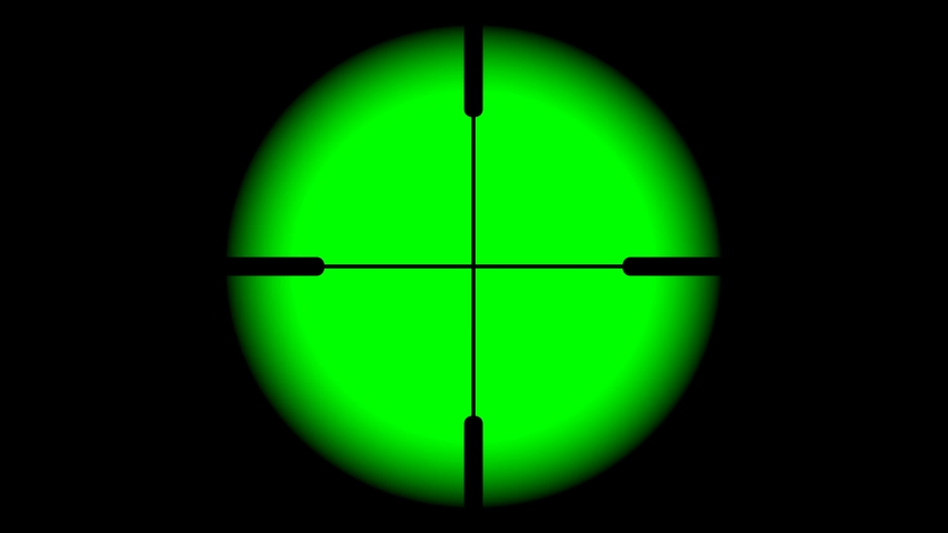 The rifle tracking optical sight is isolated on a green background. Hunting view from a first-person sight on chrome key. | Shutterstock HD Video #1054677986