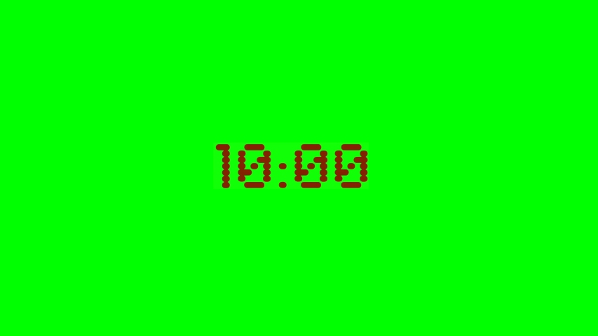 Countdown 10 seconds before the explosion. The red timer is isolated on a green background. 2d animation. Chrome Key. | Shutterstock HD Video #1054678103