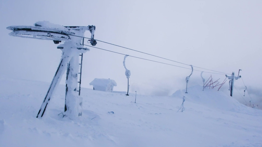 static shot of extreme wind blow artic conditions and closed button lifts at the Nevis Range ski resort Scotland