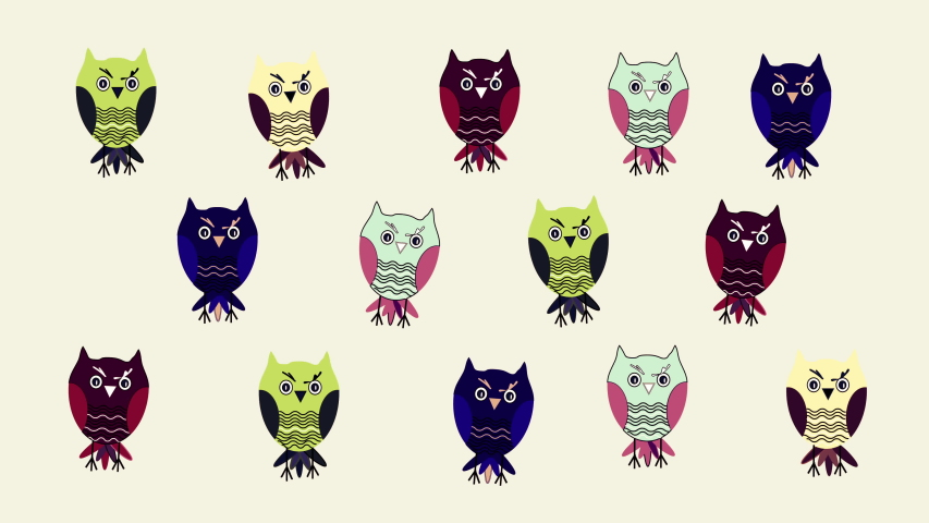 Funny background- dancing colorful cartoon owls. Motion design, animation. Light yellow background.  | Shutterstock HD Video #1054680251