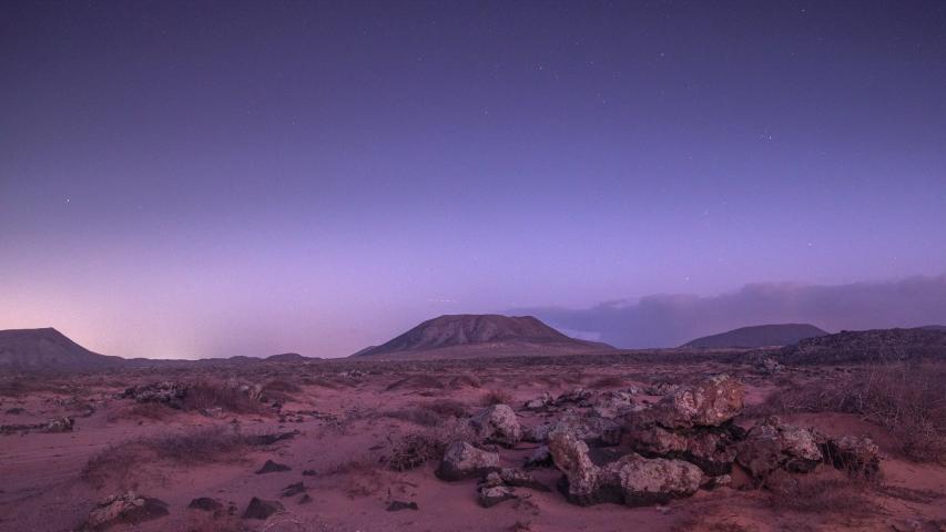 Looping gif video of clouds moving in sky above desert landscape in Fuerteventura, Spain | Shutterstock HD Video #1054681637