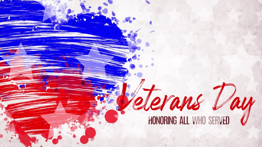 Animation. painted, blue-red heart with stars, red lettering inscription Veterans Day, on white background. Template for USA national holiday banner, greeting card, invitation, poster, flyer, etc.