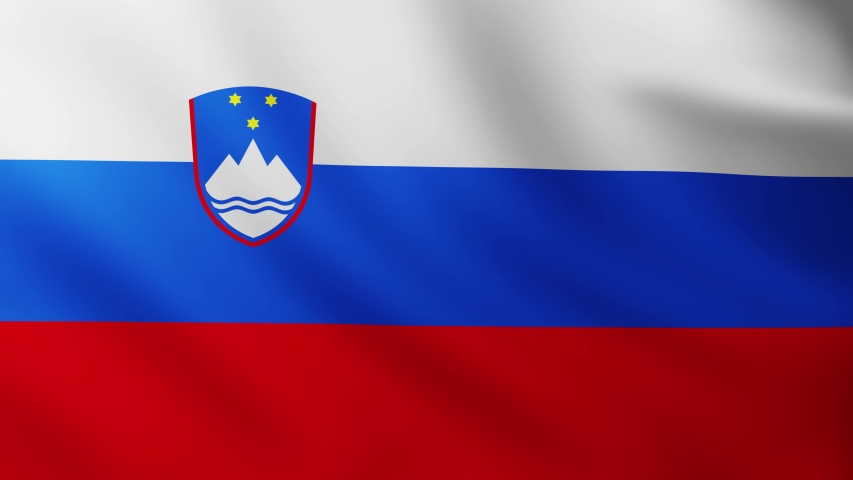 Large Flag of Slovenia fullscreen background fluttering in the wind with wave patterns