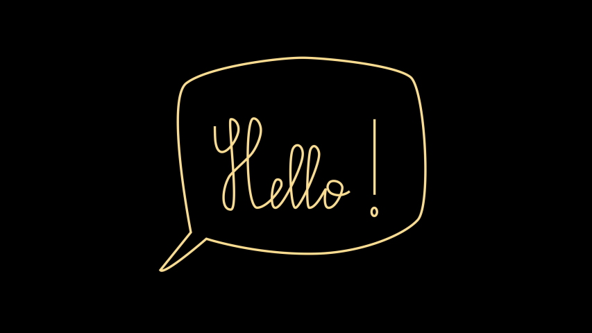 Animation of text message Hello! appearing on black background. Hand writing lettering. | Shutterstock HD Video #1054686140