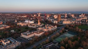 Aerial View Shot of Cardiff UK at sunset late afternoon