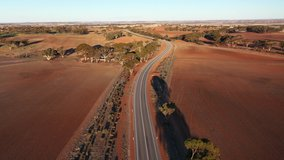 Aerial video of the road in Western Australian outback.