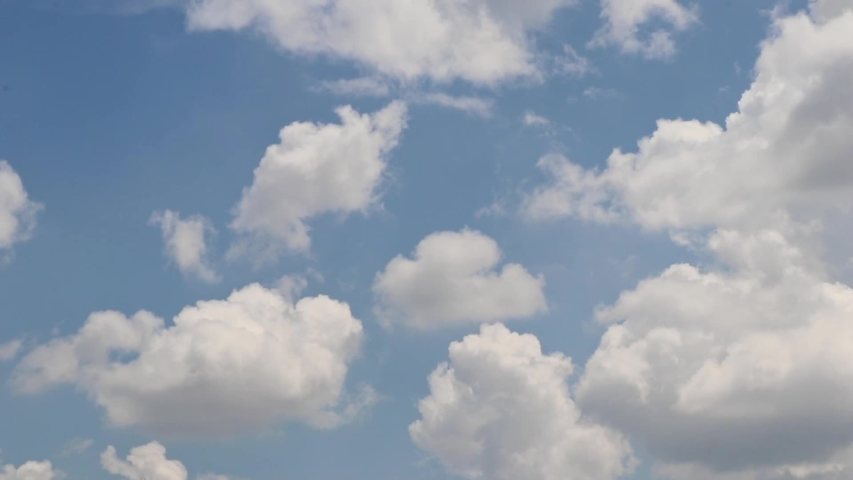 Clouds sky time lapse clip of white fluffy clouds blue sky, puffy clouds air sky cotton cloud