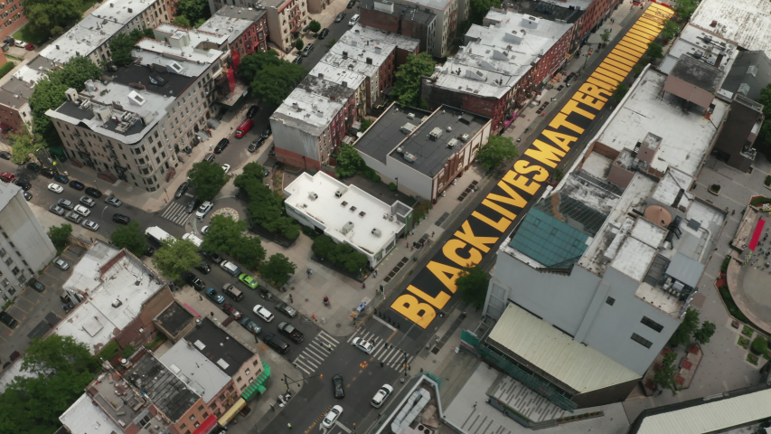 Aerial Drone Shot of Black Lives Matter Mural in Bed-Stuy, Brooklyn, New York - Shot on DJI Mavic 2 Pro on June 19, 2020 Royalty-Free Stock Footage #1054688267