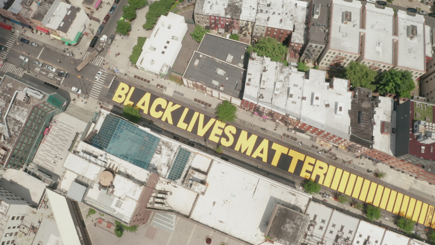 Aerial Drone Shot of Black Lives Matter Mural in Bed-Stuy, Brooklyn, New York - Shot on DJI Mavic 2 Pro on June 19, 2020 | Shutterstock HD Video #1054688276