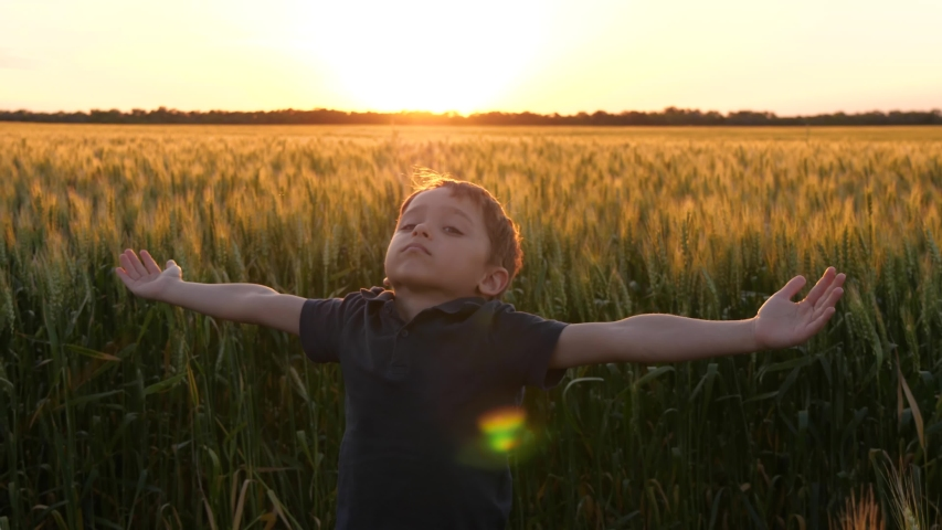A small child raises his hands to the sky, against the background of a beautiful sunset. Freedom, emotions of children. Happy child. Royalty-Free Stock Footage #1054690283