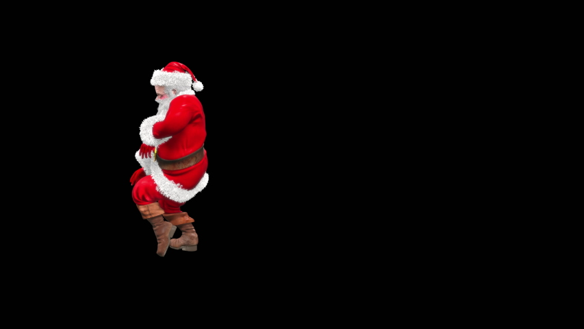 Merry christmas and happy new year 3d rendering, santa claus Dance, realistic CGI VFX Animation Loop  composition 3d mapping cartoon, Included in the end of the clip with Alpha matte.