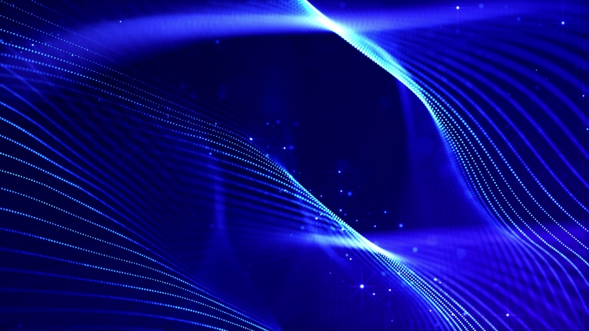 4k looped science fiction particle background with bokeh and light effects. Glow blue particles form lines, surfaces, complex structures in smooth motion like in the microworld or space. | Shutterstock HD Video #1054690589