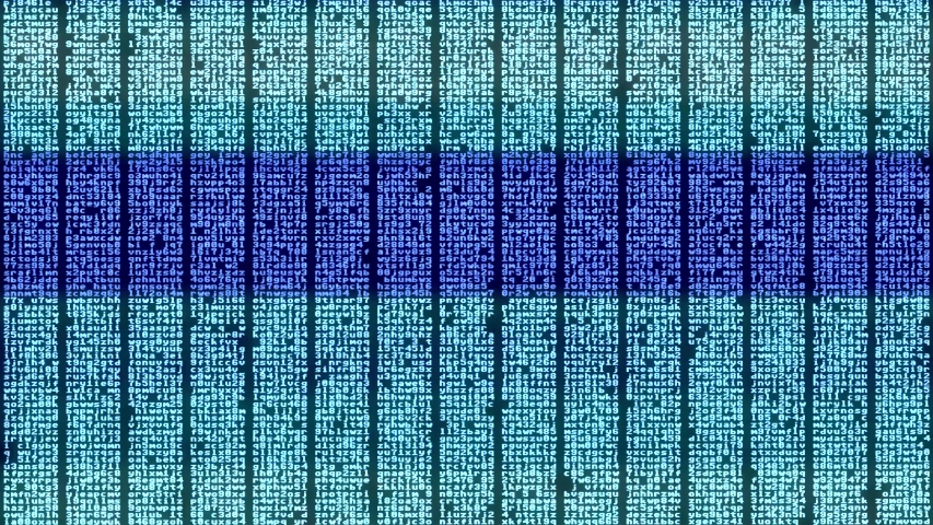 Intentional distortion glitch effect applied to blocks of random characters (encrypted data or source code) on a computer screen. Chaotic movements.  | Shutterstock HD Video #1054691087