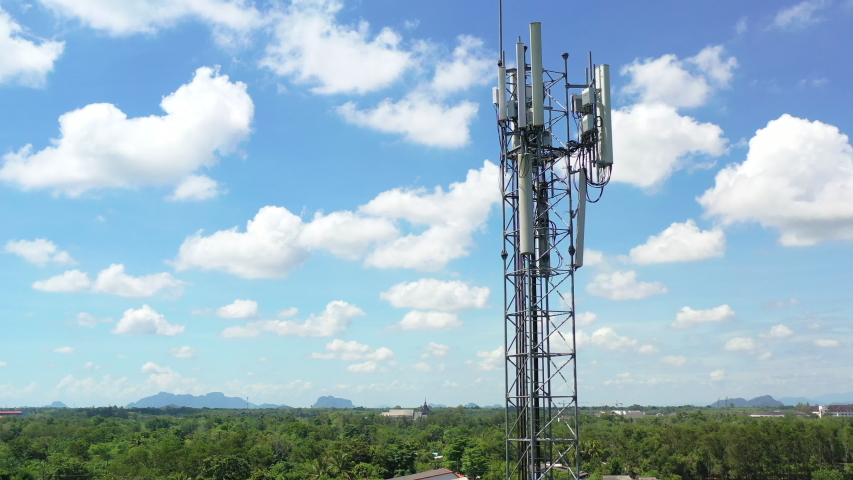 Footage 4k B-roll Aerial drone view of tower antennas Telecommunication cell phone, radio transmitters of cellular 5g 4g mobile and smartphones
