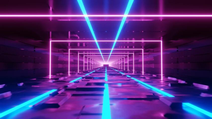 Abstract Neon Light VJ LOOP 3D Rendering