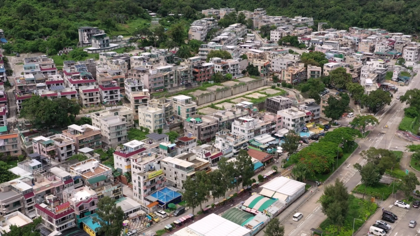 Tai Po, Hong Kong 13 June 2020: Top view of Hong Kong village