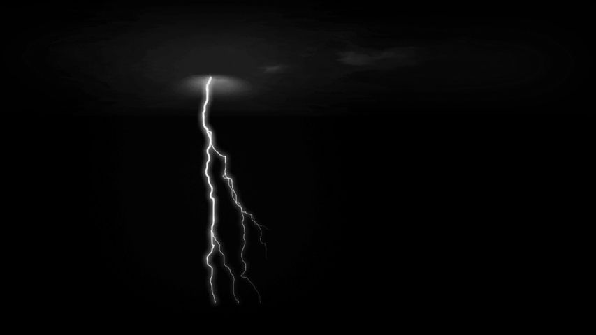 Realistic white lightning discharge with black background