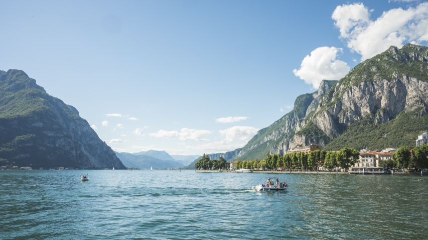 Motion lapse in 4k of City Of Lecco, Lombardy, Italy | Shutterstock HD Video #1054694990