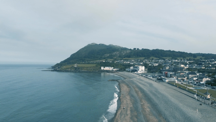 Beautiful Bray Town Near The Pebble Beach With A View Of Bray Head Mountain In County Wicklow, Ireland. - aerial drone   Shutterstock HD Video #1054695605