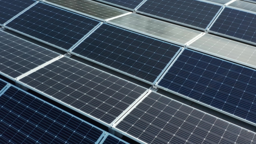 Solar Panel Array. Drone Aerial View of Modern Photovoltaic Electricity System, Close Up | Shutterstock HD Video #1054695632