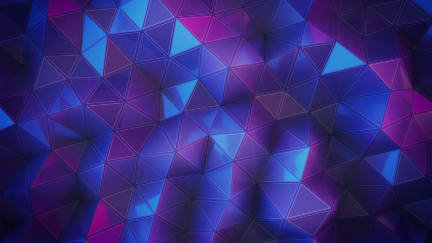 Abstract 3D visualization of a geometric low-poly ultraviolet surface.   Computer animation loop. Modern background with polygonal blue and pink shape.  Loopable motion design 4k UHD