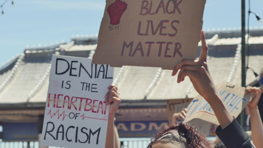 Black girl protester holds a Black Lives Matter sign protest among other signs and protesters. BLM protest. 4k | Shutterstock HD Video #1054697111