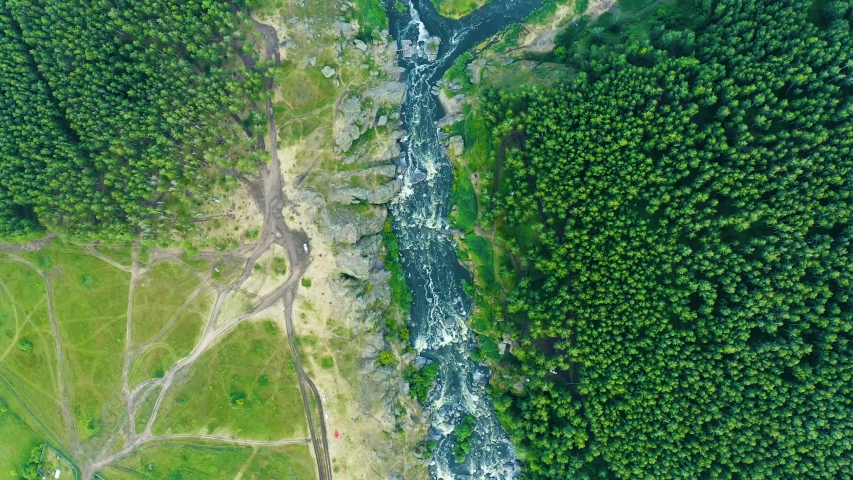 Panoramic view from the drone of a beautiful valley with mountain river, rapids and floods, forest rocks and mountains, a national treasure of the beauty of nature in Russia. Ural. The Iset River.