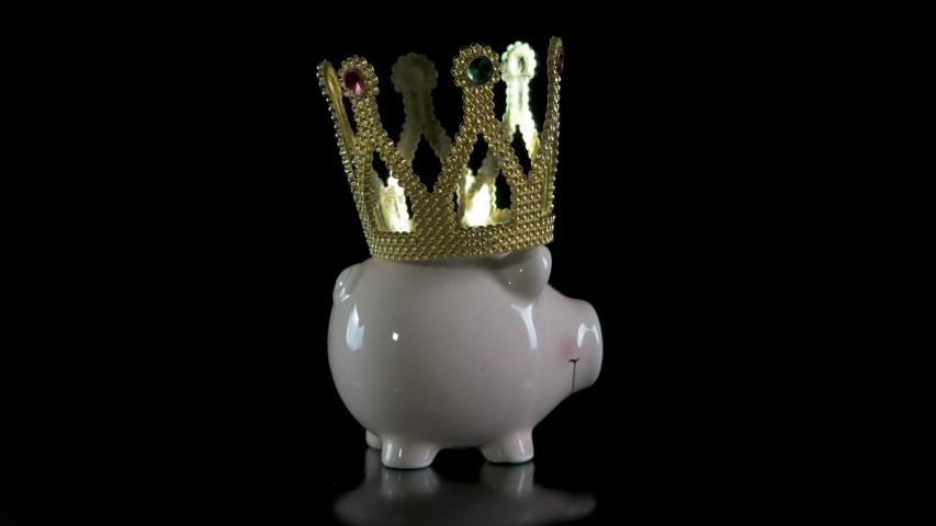 Supply the coronavirus. A view of a piggy bank in a crown. A concept of saving money in time of coronavirus. | Shutterstock HD Video #1054702184