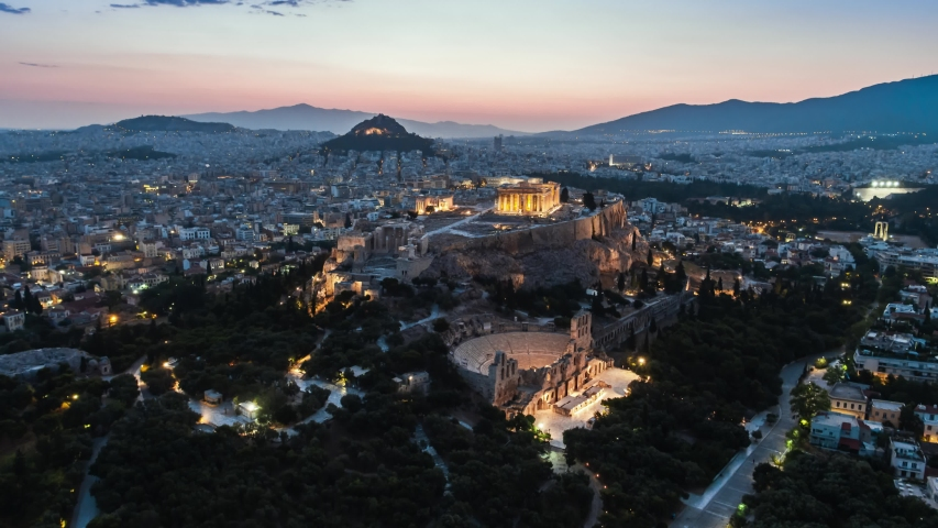 Aerial View Shot of Athens, ancient Parthenon, Acropolis, Greece at dawn dusk | Shutterstock HD Video #1054702289