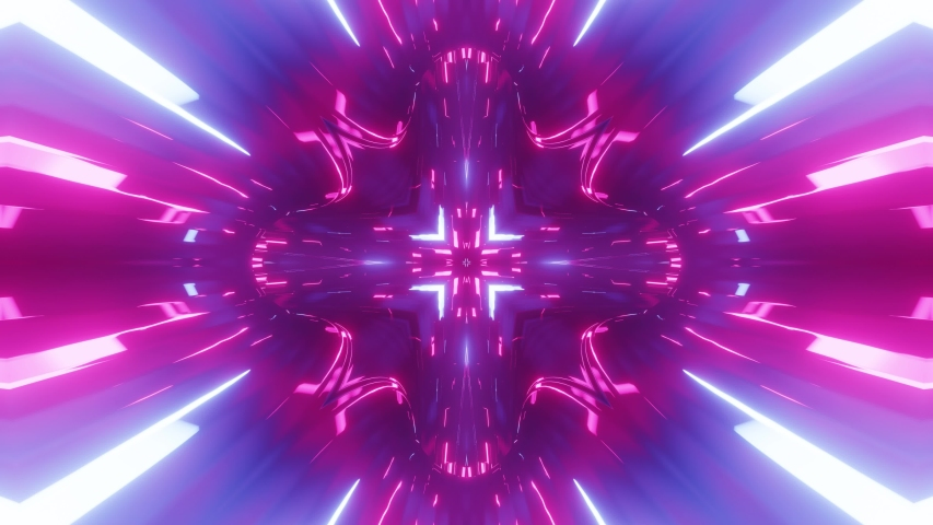 Sci-fi tunnel transformer with blue purple neon lights. 4k looped abstract high-tech tunnel. Camera flies through changing tunnel. Background in the style of cyberpunk or high-tech future. 5 | Shutterstock HD Video #1054705319