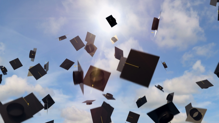 Academic graduation caps throwing high in the air on the sunny blue sky background. Celebration of the university completion and diploma awarded ceremony. Academic hats high in the clouds, loopable. Royalty-Free Stock Footage #1054705907