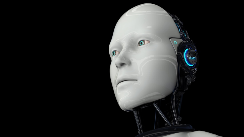 Artificial intelligence. Futuristic humanoid robot is activated, moves its head, eyes and scans the environment. The camera approaches the robot. On a black background. 4K. 3D animation. Royalty-Free Stock Footage #1054706135
