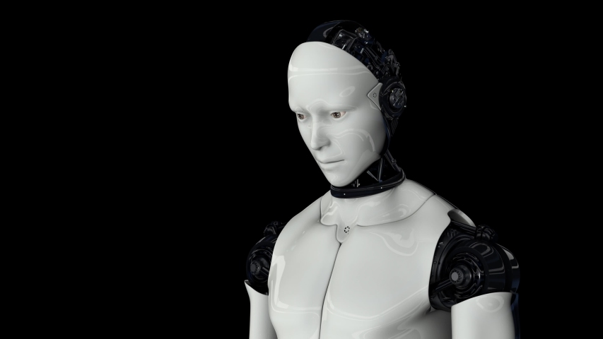 Futuristic humanoid robot is activated, moves its head, eyes and scans the environment. The camera approaches the robot. On a black background. Artificial intelligence. 4K. 3D animation. | Shutterstock HD Video #1054706138