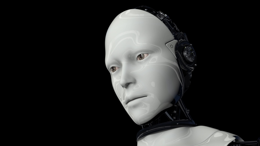 Artificial intelligence. Robot android is activated, moves its head, eyes and scans the environment. The camera moves away. 4K. 3D animation. On a black background. | Shutterstock HD Video #1054706144
