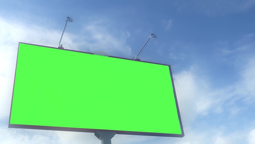 Green screen. Billboard over blue sky with clouds. Timelapse