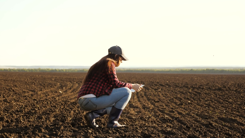 A farmer checks quality of soil before sowing. woman farmer with a tablet in field holds earth in his hands. girl agronomist checks the quality of sowing grain. business woman checks her field