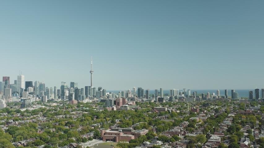 4K Aerial Establishing shot of a Toronto neighborhood. Cinematic shot. | Shutterstock HD Video #1054715810