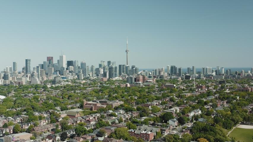 4K Aerial Establishing shot of a Toronto neighborhood. Cinematic shot. | Shutterstock HD Video #1054715813