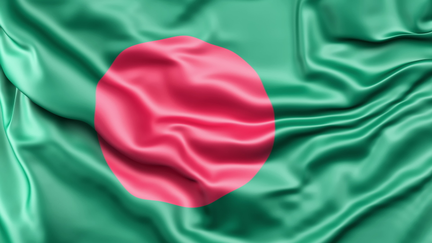 A high-quality footage of 3D Bangladesh flag fabric surface background animation