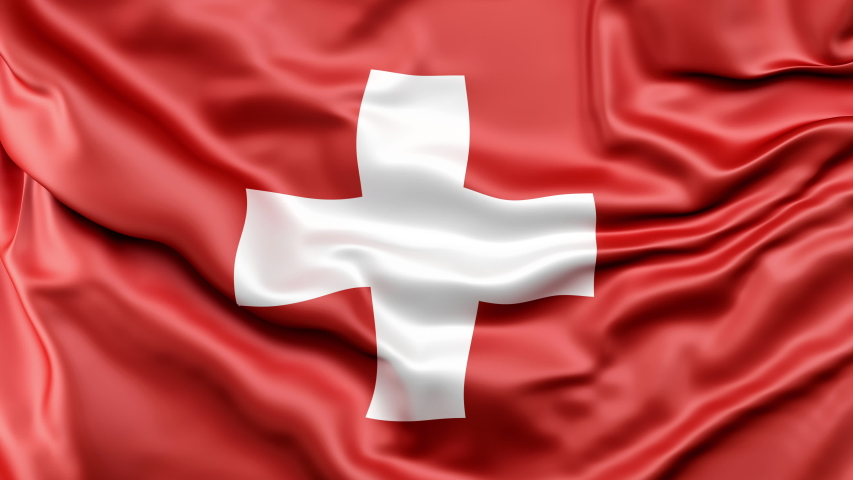 A high-quality footage of 3D Switzerland flag fabric surface background animation